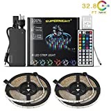 NEW 2018 LED Strip Lights Kit Waterproof– 32.8ft (10M) 600 LEDs SMD 3528 RGB Light with 44 Key Remote Controller, Extra Adhesive Tape, Flexible Changing Multi-Color Lighting Strips for TV, Room