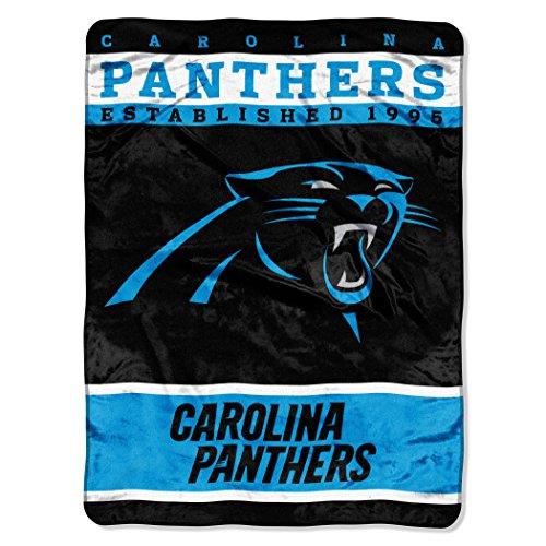 Nfl Carolina Panthers Plush Raschel Blanket, 60 X 80-Inch, Blue front-843755
