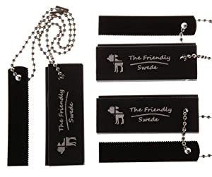 The Friendly Swede 3-pack Magnesium Fire Starters with Extra Long Chains and Strikers - EDC Survival Essentials in Retail Packaging - Lifetime Warranty