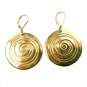 Spiral Gold Dipped Earrings on French Hooks