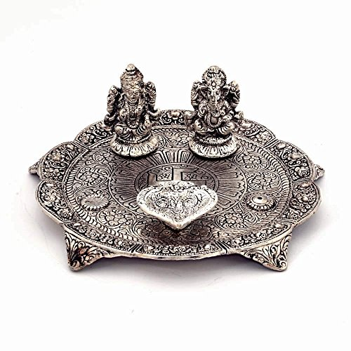 Great Art Jaipuri Craft Work White Metal Lord Laxmi Ganesh Idol With Dia Thali