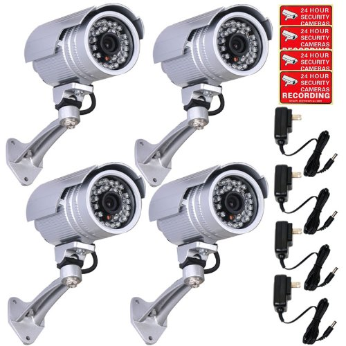 VideoSecu 4 Pack CCTV Day Night Vision Outdoor IR Bullet Security Cameras 30 Infrared LEDs Wide Angle Lens for Home DVR Surveillance System with Power Supplies and Free Security Warning DeCals WI7