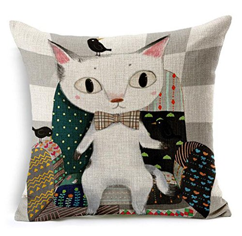 Dececos Naughty Meow Decorative Cotton Linen Blend Pillow Cover Square 18 x 18 Inches Throw ...