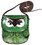 LittleKapsWorld Owl Genuine Leather Cross Body Shoulder Purse Cute Hand Bag – Green by NYC Leather Factory Outlet