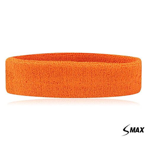 SMax Sportline Hauptband, Frottee-Stirnband,Fitness-Workout-Yoga-Übung & Fitness orange