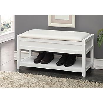 White Bonded Leather Entryway Shoe Bench Shelf Storage Organizer