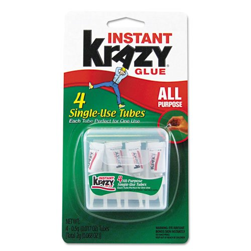 Krazy® Glue - Krazy Glue Single-Use Tubes w/Storage Case, 4/Pack - Sold As 1 Pack - All-purpose formula for glass, metal, plastic, wood and rubber in single-use applicators that offer convenience and ease of use for home and office. 12 pcs cyanoacrylate quick dry adhesive strong bond fast 502 super liquid glue for leather rubber metal home office school tool