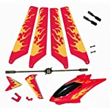 Red Syma S107 S107G Replacement Parts Main Rotor Blades Tail Decoration Balance Bar Tail Blades Connect Buckle Head Cover Canopy Package Kit Helizone RC Fire