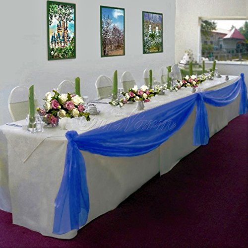 Gorgeous Home Linen *Many Colors* Elegant Wedding Table Valance Chair Decor Sheer Swags Fabric Party Decorations (Royal Blue )