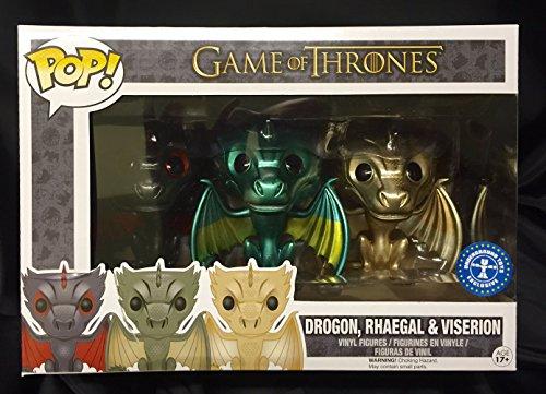 Funko - Figurine Game of Thrones - Set 3 Dragons Drogon Viseron Rhaegal Metallic Exclu Pop 10cm - 0849803072650