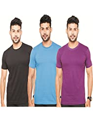 Fleximaa Men's Round Neck T-Shirt Plain Combo Offer (Pack Of 3) - Black, Royal Blue & Purple Colors. Sizes : S...
