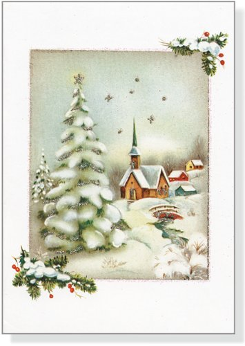 Vintage Winter Church Small Boxed Holiday Cards (Christmas Cards, Holiday Cards, Greeting Cards)