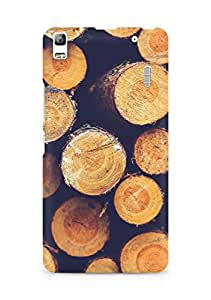 Amez designer printed 3d premium high quality back case cover for Lenovo A7000 (Wood circle piles nature blue pattern)