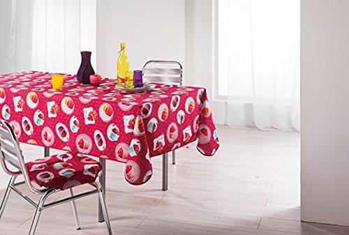 """XL extérieur moderne-effet lotus-nappe motif """"rose framboise/cUPCAKES avec une touche petits muffins et cUPCAKES-dimensions :  150 x 240 cm-avec protection facile à partir des liquides de perles-nappe-la pour l'intérieur et l'extérieur-sHOP dans une nouvelle d'autres tailles et coloris disponibles-peut également servir de table pour la terrasse, le balcon et le jardin dans la boutique kAMACA-sHOP"""