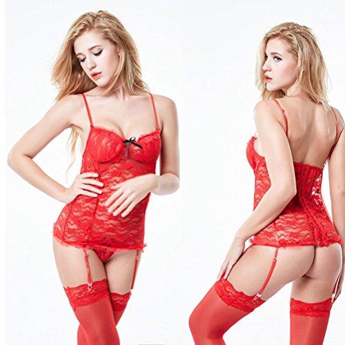 Biancheria delle donne Lace giarrettiera sexy Intimo Abbigliamento con le calze , red , xl
