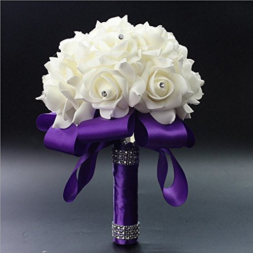 StillCool® Still Purple Crystal Pearl Silk Roses Bridal Bridesmaid Wedding Bouquet (18cm*24cm, Purple)