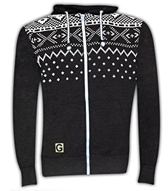 Mens Gaffer Aztec Hoody Jumpers Charcoal S