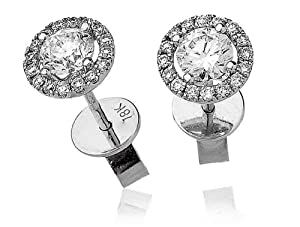 0.75CT Certified G/VS2 Round Brilliant Cut Centre with Halo Diamond Earrings in 18K White Gold