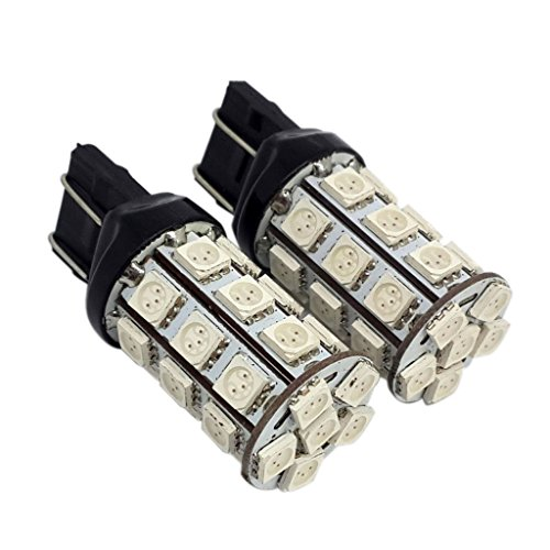 Generic 2PCS 7443-27SMD-5050-R High Power Red LED Turn Signal Blinker Lights Bulbs
