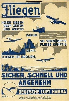 vintage-de-aviacion-o-para-viajar-fliegen-deutsche-lufthansa-hansa-sicher-con-la-bandera-de-alemania