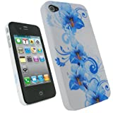 IGadgitz Blue Flower Design Hard Case Cover for Apple iPhone 4 HD & 4S 16GB 32GB 64GB + Stick-on Screen Protector