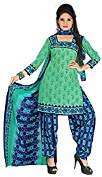 Manthan Green Printed Un-Stitched Patiyala Suit