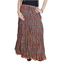 SHREEMANGALAMMART Fashionable Ethnic Cotton Full Length Skirt (Multi)(SMSKT575)