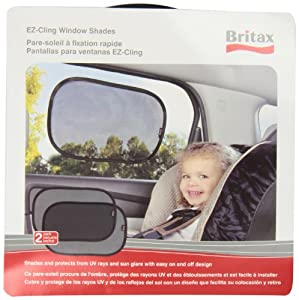 Britax EZ-Cling Sun Shades, Black, 2 Count