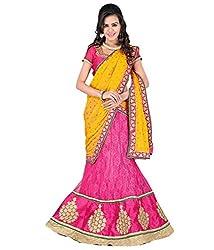 Pragati Fashion Hub Pink Net Lehenga
