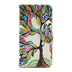 IKASEFU Samsung Galaxy S6edge plus Leather Case,Samsung Galaxy S6edge plus Flip Case,Oil Painting Tree Design Fashion Pattern Wallet Skin Cover for Galaxy S6edge plus-Oil Painting Tree