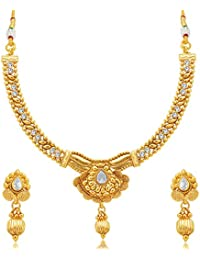 Sukkhi Glimmery Jalebi Gold Plated AD Necklace Set For Women