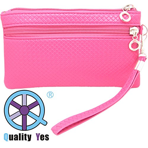 Qy Hot Pink Color Synthetic Leather Zipper Ladies Wallet Mini Hand Bag Wristlet Bag Phone Bag front-529899