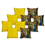 meSleep 5 Pc Peacock Digital Cushion Cover and 5 Pc Yellow Quilted Cushion Cover