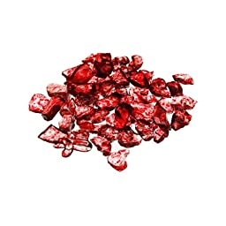 CYS Vase Filler Colored Crushed Glass Table Scatters, Red, 1 lb per bag (16 bags), D-0.2''-0.3''
