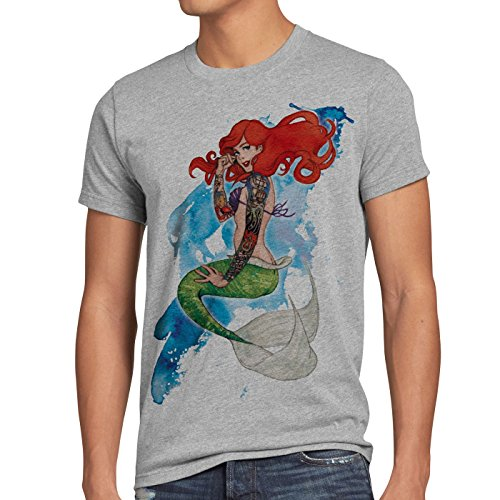 style3 Ariel Tatuaggio T-Shirt da uomo sirena tatuata biker usa, Dimensione:3XL;Colore:grigio melange