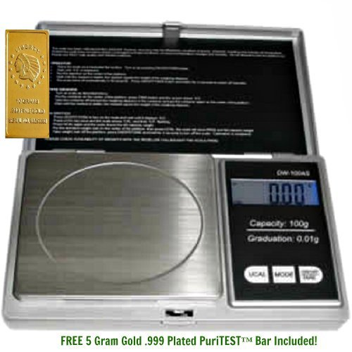 1 Digiweigh 100 Gram Digital Pocket Scale-Electronic Gadget W/Carats, Ounces & Grains Shipping Scale + 5 Gram Gold Test Bar
