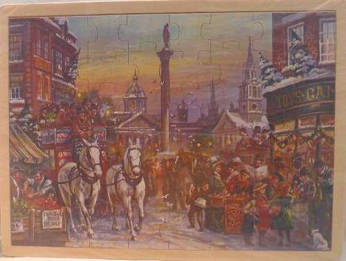 Simplex Wooden Jigsaw Puzzle - Nostalgic Christmas in London (Trafalgar Square) - 1