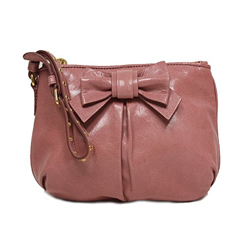 Miu Miu Prada Vitello Light Pink Leather Bow Wristlet Evening Clutch Bag 5N1681 Miu Miu Bags Light
