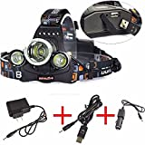 FIONA RJ-5000 8000Lumens 3x CREE XM-L T6 LED Headlamp Headlight for Camping Hiking with AC Adapter USB Charger Car Charger