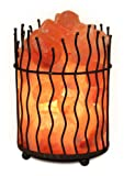 WBM 1332 Himalayan Light Pillar Natural Air Purifying Tall Basket Salt Lamp with Crystal Chunks, Bulb and Dimmer Switch