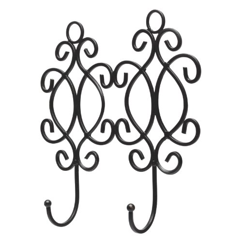 Decorative Wall Mounted Black Metal 2-Hook Garment Rack for Hanging Coats / Towels
