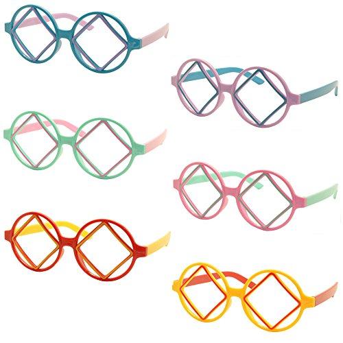 Set Of 6 Fancyg® Cool Kids Retro Classic Round Square Kids Glass Frame No Lens