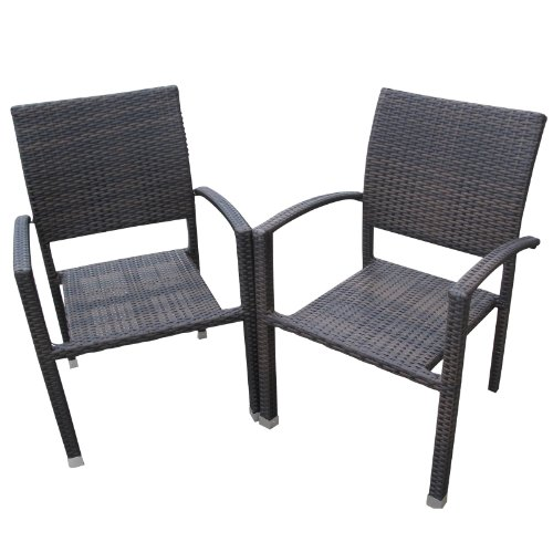 LexMod Bella Outdoor Stackable Dining Chairs in Dark Chocolate picture