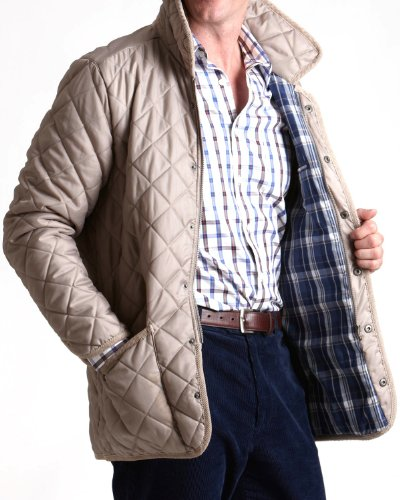 Savile Row Mens Stone Quilted Casual Jacket Size X-Large