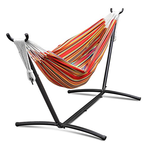 Flexzion Double Hammock With Steel Stand Combo Space Saving Elegant Tropical Stripe with Portable Carrying Case for Out