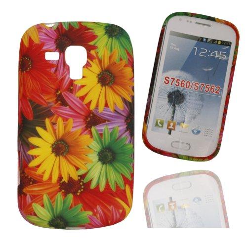 Jelly Case Silikoncase Hülle Etui Handytasche Handykondom Back Cover mit BLUMENMUSTER 6 / FLOWER 6 für Samsung Galaxy Trend GT-S7560 / Duos GT-S7562 / Plus GT-S7580 / Duos 2 GT-S7582 inkl. World-of-Technik Touchpen