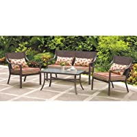 4-piece Patio Conversation Set Red Stripe with Butterflies, Seats 4 from Mainstays