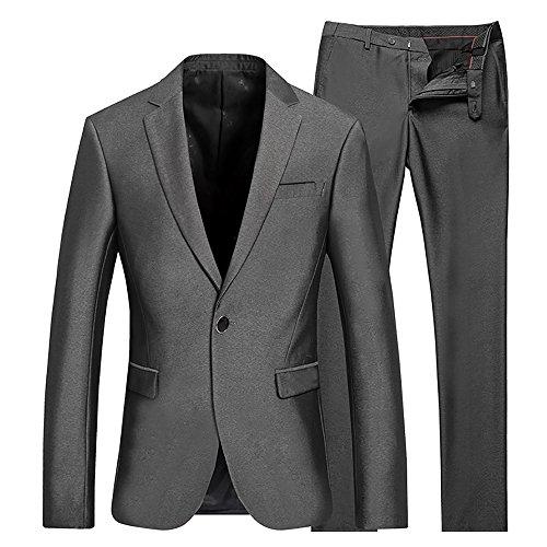 Cloud Style(コゥロード スタイル)ビジネス メンズジャケット 光沢あり 紳士服 就職/結婚式/入社式 上下セットスーツ 【S-3XL】(グレー,S)