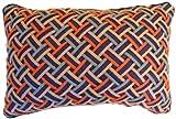 ITM Shoelace Weave Lattice Design Pillow, 12 by 18-Inch, Platinum