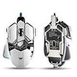 Gaming Mice Gaming Mouse Combaterwing 4800 DPI Optical USB Wired Professional Gaming Mouse Programmable 10 Buttons RGB Breathing LED Mice for PC Pro Gamer (White)